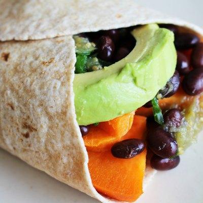 Vegetarian sweet potato burrito