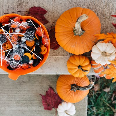 halloween candy and pumpkins