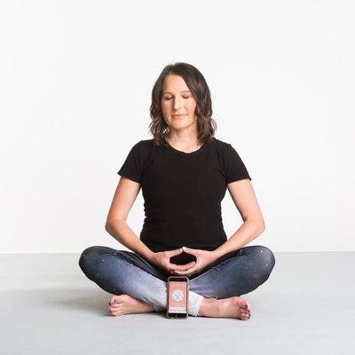 woman meditating stop breathe think