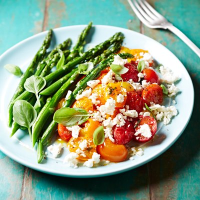 Pan roasted Asparagus and Cherry Tomatoes with Feta