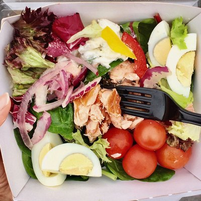 salad in a to-go container