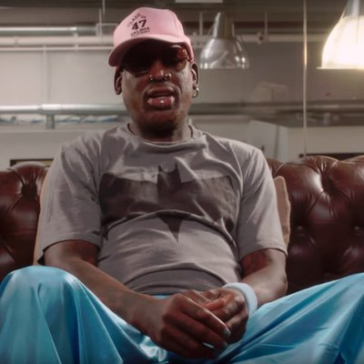 Retired basketball player Dennis Rodman in a still from the Viceland interview.