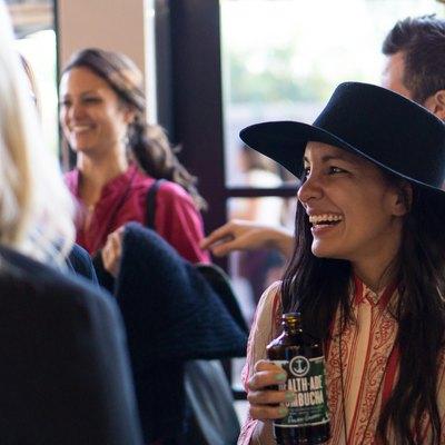 Radha Agrawal laughts at AWE at Wanderlust Hollywood on November 4, 2016.