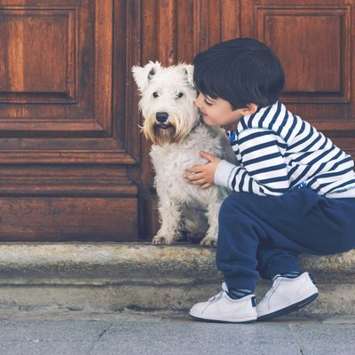 A little boy hugs a dog.