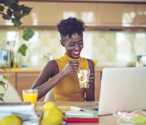 person eating foods for focus and concentration