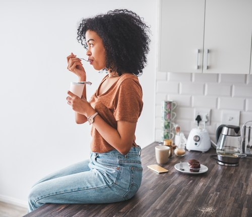 woman eating bulgarian yogurt