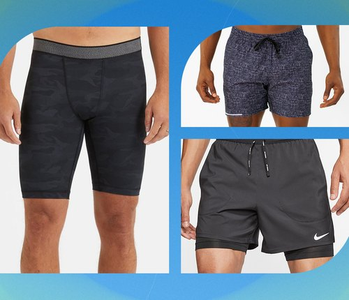 collage of best men's workout shorts on blue background