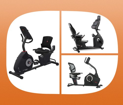 collage of exercise bikes for low back pain on orange background