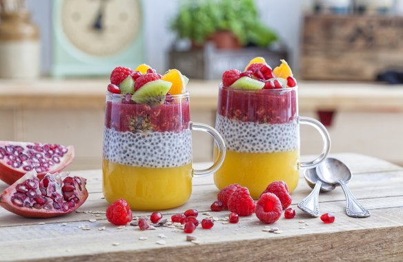 Healthy dessert in a glass with chia seeds