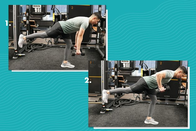 Proper form for alternating single-leg Romanian deadlift to row.