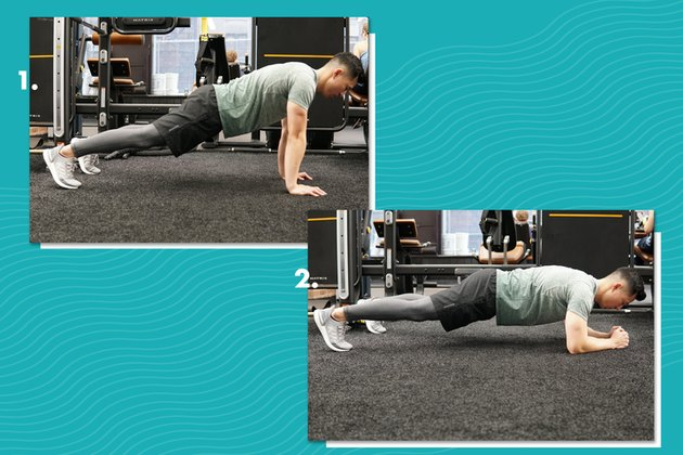 Form for alternating high-low plank.
