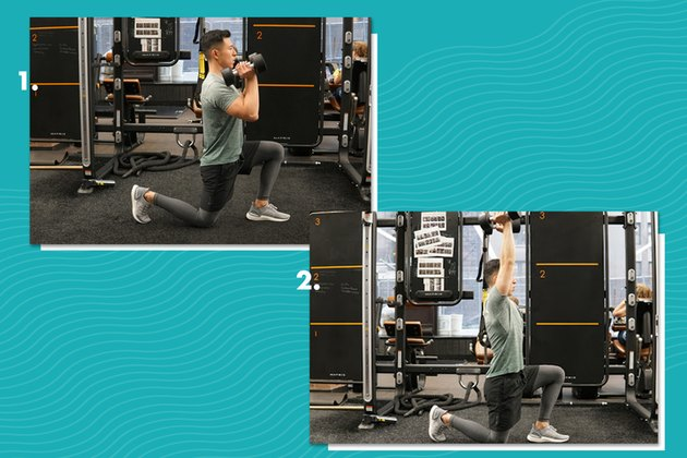 Proper form for alternating lunge press.