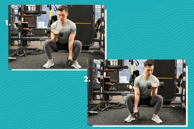 Proper form for alternating squat curls.