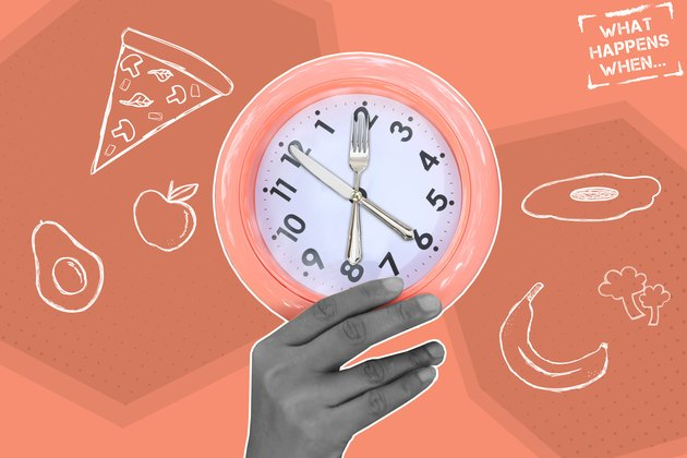 Hand holding eating utensil clock with food in background