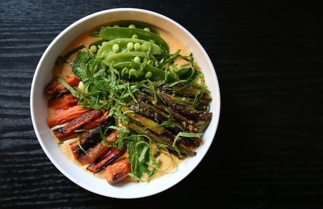 Roasted Carrot Yogurt Bowl with Spring Vegetables Savory Yogurt Recipe