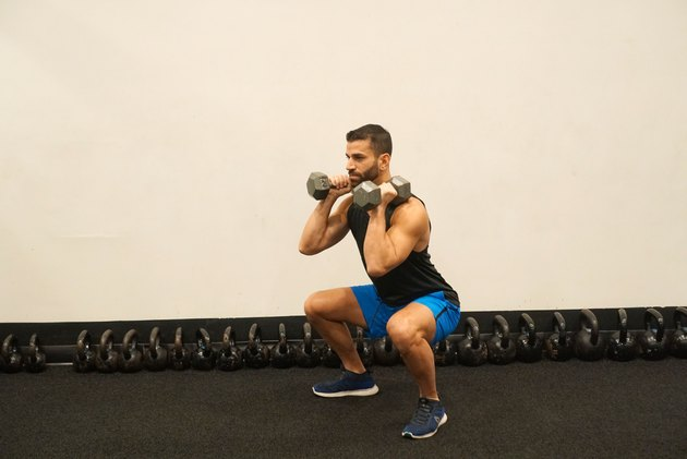 Man demonstrating how to do dumbbell front squats