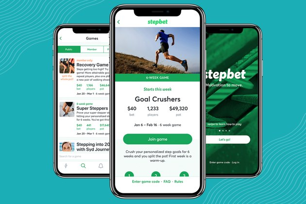 Screenshots of StepBet walking app