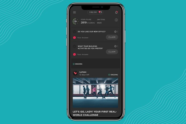 Screenshot of Lympo walking app