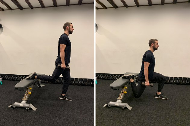 Man demonstrating how to do a Bulgarian split squat for glutes