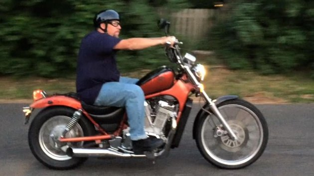 Jeffrey Hadley riding his motorcycle
