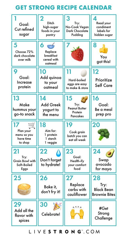 Get Strong in 2019 Challenge printable recipe calendar