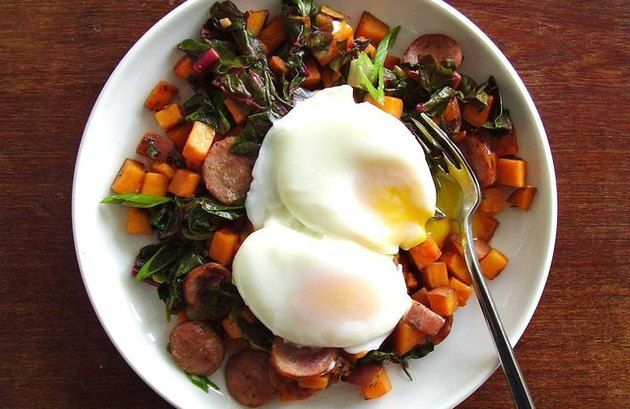 Apple Cider Vinegar Recipes Sweet Potato, Chard and Turkey Sausage Hash With Eggs