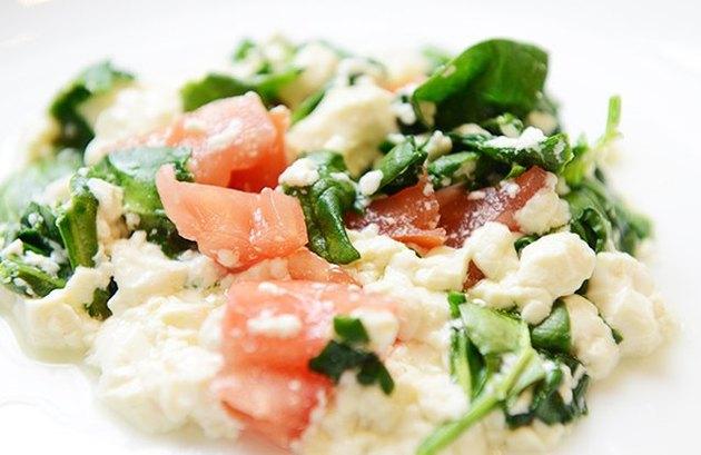 Mediterranean Tofu Protein Scramble Mediterranean breakfast recipe.