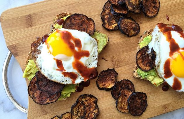 "eggplant recipes Sriracha Avocado Toast with Eggplant ""Bacon"" and Egg"