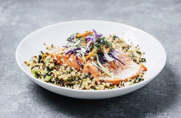 Salmon and Broccolette Superfood Salad Mediterranean Diet Dinner Recipe.