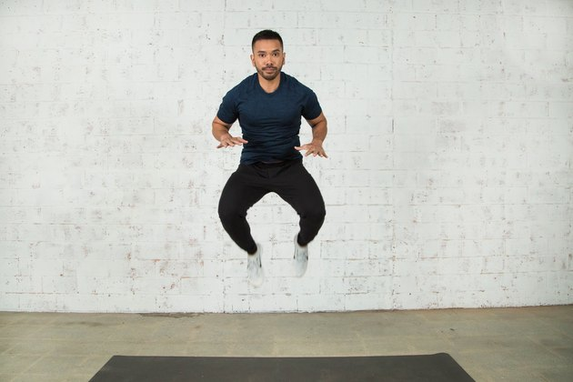 Mike Donavanik demonstrates a tuck jump burpee