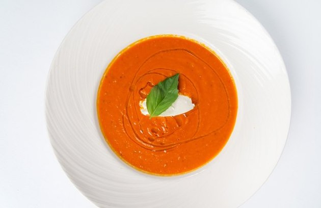 Healthy comfort food recipes Homemade Tomato Soup with Mascarpone Cheese and Basil