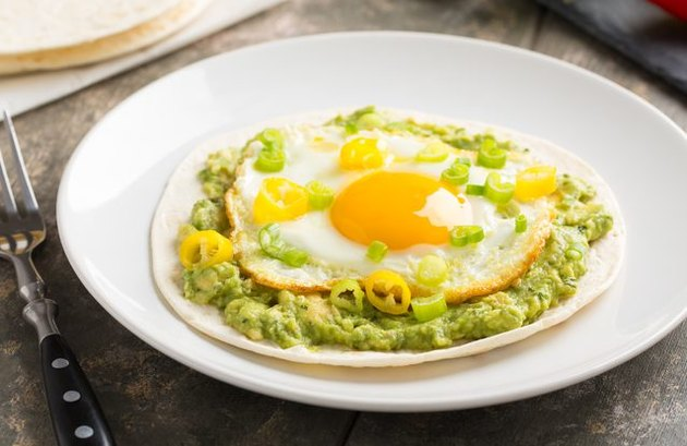 Guacamole and Egg Soft Tacos breakfast taco recipe.