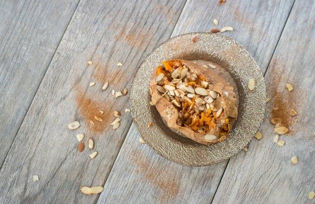 Almond Spice Baked Sweet Potato fall breakfast recipe.