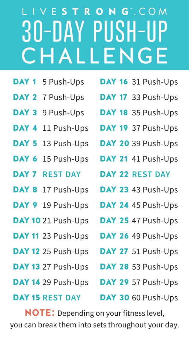 LIVESTRONG.com 30-Day Push-Up Challenge Calendar
