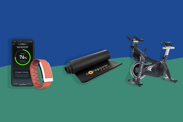 illustration of soulcycle bike, corepower yoga mat, and whoop fitness tracker