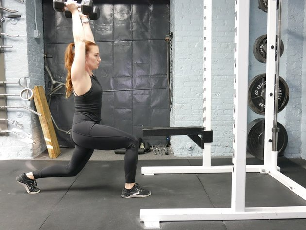 Proper form for reverse lunge to overhead press.