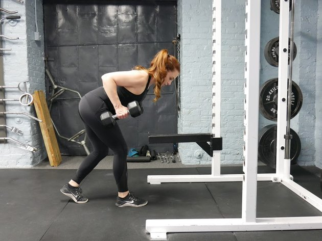 Proper form for staggered deadlift to bent-over row.
