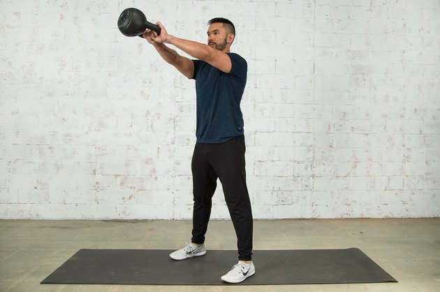 Mike Donavanik demonstrates a kettlebell swing