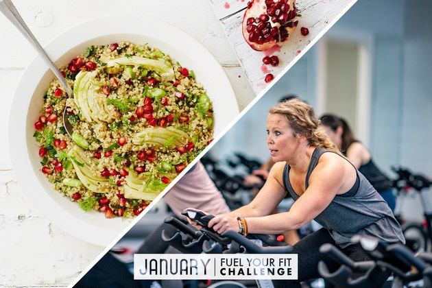 split image of healthy carb quinoa bowl and woman doing cardio workout on stationary bike