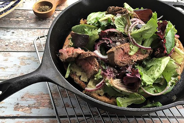 Pan-Charred Steakhouse Salad Pizza