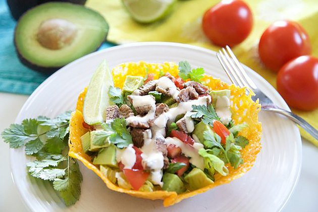 Taco Salad with Edible Cheddar Bowls