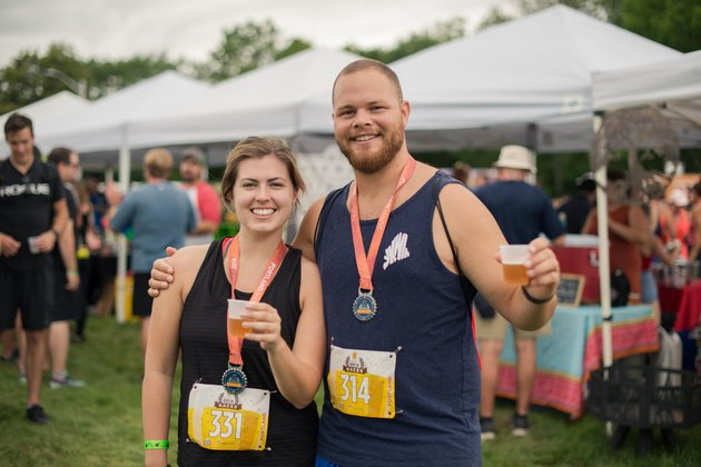 Runners with a beer after a Craft Brew Race