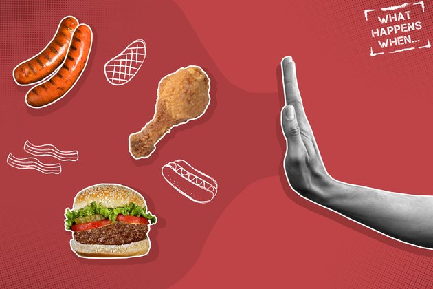 Mixed media graphic showing hand rejecting meat products