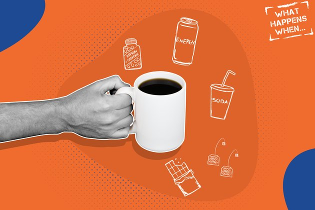 Illustration concept of a person consuming caffeine from coffee, tea, energy drinks and other sources