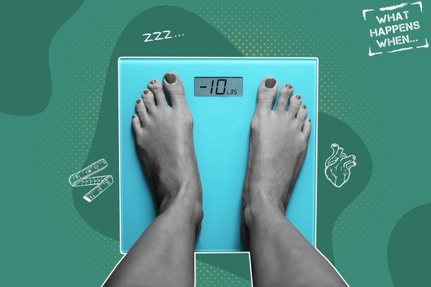 A person's feet on a bathroom scale, with illustrations of what happens when you lose 10 pounds