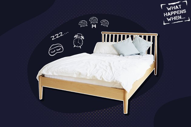 An empty bed on a dark blue background, with illustrations that represent not getting enough sleep