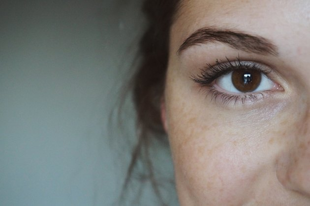 close-up woman eyebrows