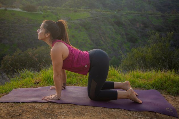 Woman performing yoga pose on all fours, arching  her back.