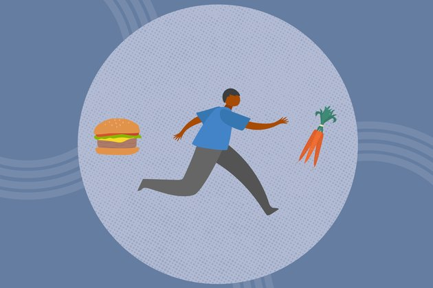 concept illustration of going vegan with person running from burger toward carrots
