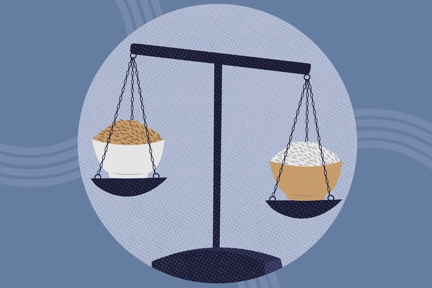 concept illustration of weighing health benefits of white rice and brown rice